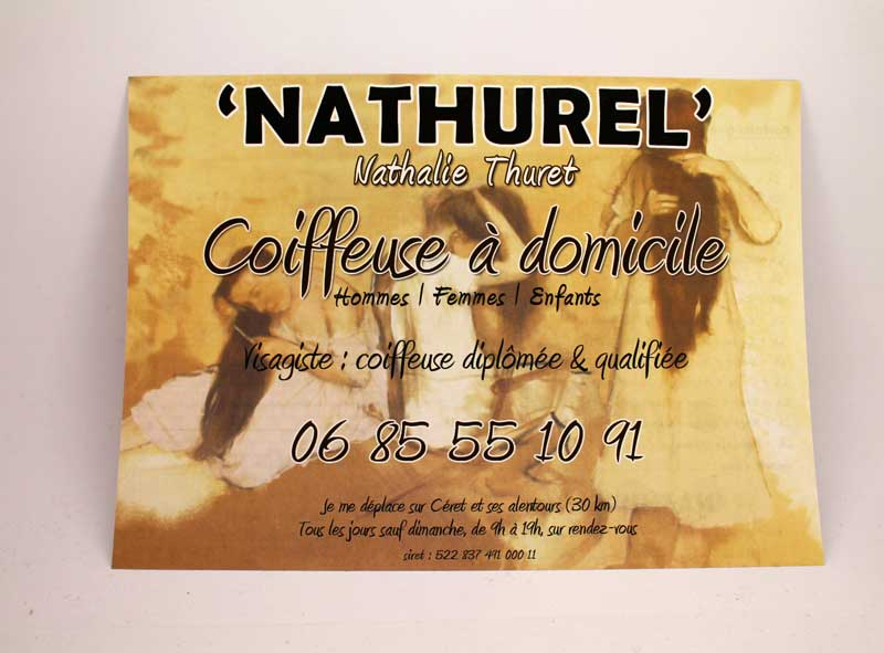 Recto Flyer Nathurel, Nathalie Thuret, coiffeuse à domicile Céret